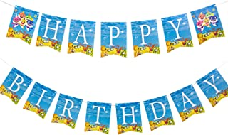 HYYXL Cute Shark Happy Birthday Banner Party Supplies For Kids and Adults Birthday Party Decorations Party supplies