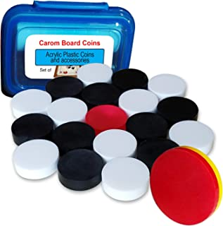 Carrom Board Coins Large Plastic with 2
