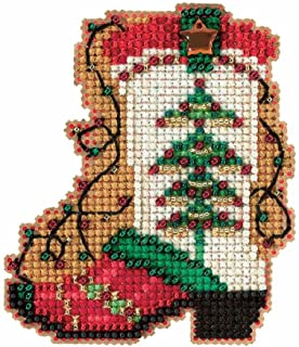 Mill Hill Holiday Boot Beaded Counted Cross Stitch Christmas Ornament Kit 2017 Winter Holiday MH181736