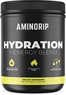 Hydration Energy Blend by Aminorip. Hydration Supplement with Sodium, Potassium, No Caffeine, 500 mg Electr...