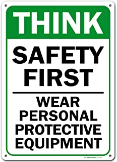 Workplace Safety Sign Wear Personal Protective Equipment Sign, Made Out of .040 Rust-Free Aluminum, Indoor/Outdoor Use, UV...