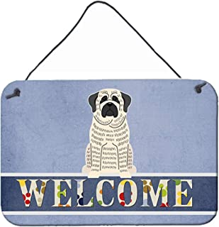 Caroline's Treasures BB5597DS812 Mastiff Brindle White Welcome Metal Print, 8 x 12, Multicolor