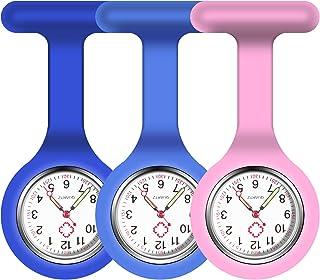 Vicloon Montre à Gousset D'infirmière,3pcs Infirmière Montre Broche en Silicone avec Broche pour Infirmières et à Tout Aut...