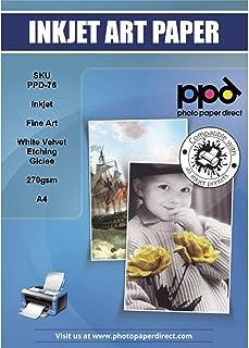 PPD 25 Feuilles x A4 Papier Gravure, Velours Blanc Mat, 270g pour Impression Giclée Fine Art à Jet d'encre, 25 Feuilles PP...