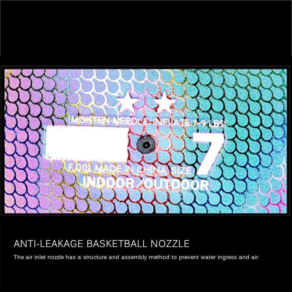 -Reflective Black SUNJULY Flashing Basketball Luminous Basketball PU Glowing Rainbow Light Basketballs in The Dark Basketball Perfect Night -Light Ball Toy Gift for Kids Boys Official Size NO.7