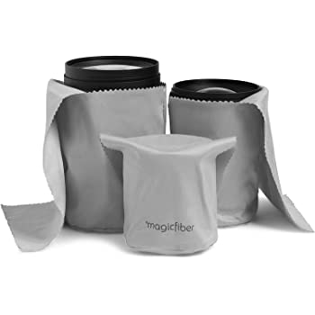 MagicFiber Microfiber Camera Lens Pouches (3 Pack) Ultra Soft Bags with Built-in Cloth for Cleaning and Storing Camera Lenses