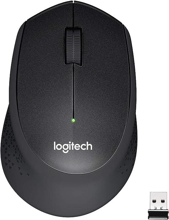 Logitech m330 silent plus mouse wireless, 2.4 ghz con ricevitore usb nano, 1 000 dpi, 3 ?pulsanti 910-004909