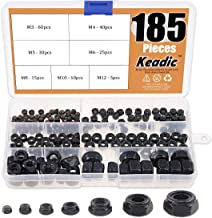 Keadic 185 Pieces Metric Black Zinc Plated Nylon Insert Lock Nuts Assortment Kit for Matching Screws or Bolts - Sizes Include:M3 M4 M5 M6 M8 M10 M12