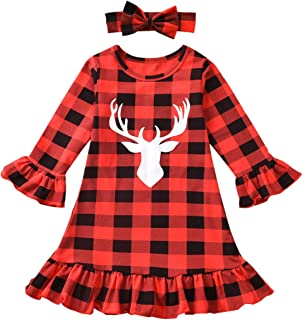 Kissybaby Toddler Baby Girls Buffalo Plaid Ruffle Cuff Deer Smocked Dress with Headband Fall Winter Christmas Clothes Set