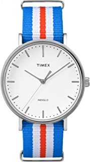 Timex Unisex TW2P91100 Fairfield 41 Orange/Blue/White Nylon Slip-Thru Strap Watch