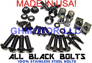 GHMotor Complete Fairings Bolts Screws Fasteners Kit Set Made in USA for 1994 1995 1996 1997 KAWASAKI ZX9R ZX-9R - Black