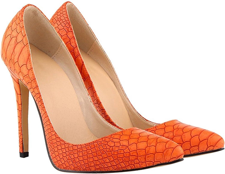 WANabcMAN Comfortable Women's Pattern Pointy Stiletto High Heels shoes orange42 M EU