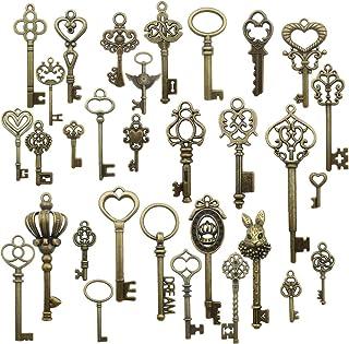 66pcs Vintage Skeleton Keys in Antique Bronze Color Charms Pendant Rustic Wedding Favor for Jewelry Making