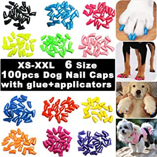 100pcs Dog Nail Caps, VITCHY Glitter Colors Pet Dog Soft Claws Nail Cover for Dog Claws with Glue and Applicators, 6 Size