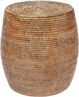 Kouboo La Jolla Round Handwoven Rattan Stool/Side Table, 18