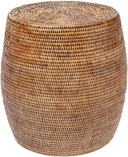 Kouboo La Jolla Round Handwoven Rattan Stool Side Table 18 By 18 Honey Brown