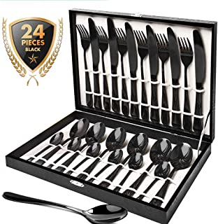Silverware Set, HOBO 24 Pieces Flatware Cutlery Set, Japan Stainless Steel Dinnerware Set,Tableware Set Service for 6, Include Knife/Fork/Spoon Set, with High-grade Wooden Box (Black)
