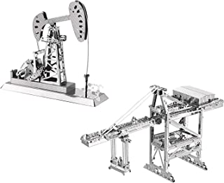 3D Metal Puzzle Models of Crane and Oil Derrick - DIY Toy Metal Sheets Assembling Puzzle, 3D Puzzle – 2 Pack