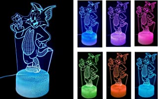 Tom and Jerry Illusion 3D Night lamp for Kids Bedroom. 7 Color Changing Optical lamp with Touch Sensor. Best for Kids as Gifts.