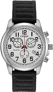 Military Eco-Drive Chronograph AT0200-13A Mens Black Nylon Band Silver Quartz Dial Watch