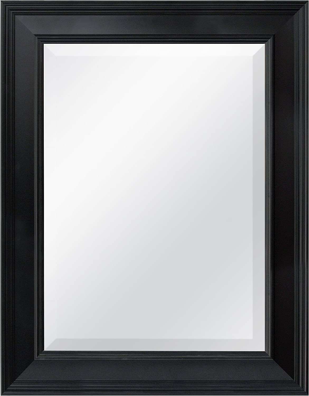 MCS Black Grooved Beveled Rectangular Wall Mirror, 21-Inch by 27-Inch