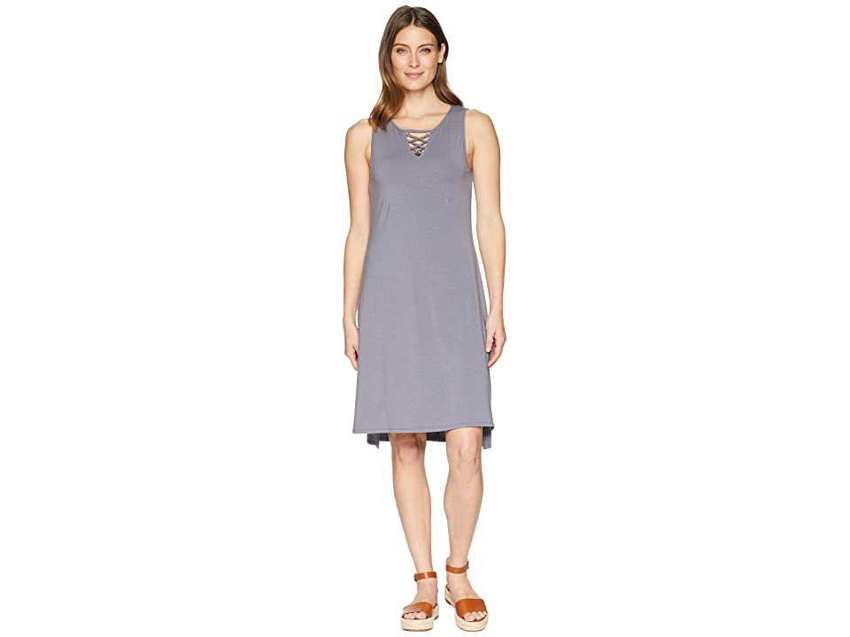 Mod-o-doc Cotton Modal Spandex Jersey Lace-Up Tank Dress (Steel) Women