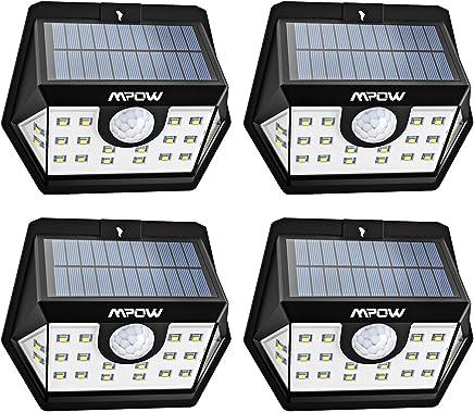 Mpow [Version Avancée] Lampe Solaire 4 Pack 20 LED Etanche Détecteur de Mouvement Temps d'éclairage 30s, Spot Solaire Eclairage Exterieur pour Jardin, Maison, Garage, Cour, Mur, Escalier, Patio etc