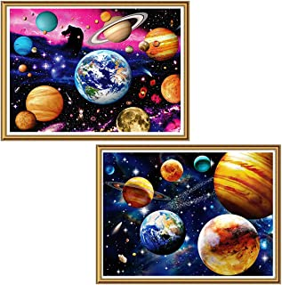 Ginfonr 5D Diamond Painting Colorful Space Full Drill by Number Kits for Adults, 2 Pack Abstract Planet Paint with Diamond Art DIY Star and Universe Rhinestone Wall Craft Decor 30x40 cm (12x16 inch)