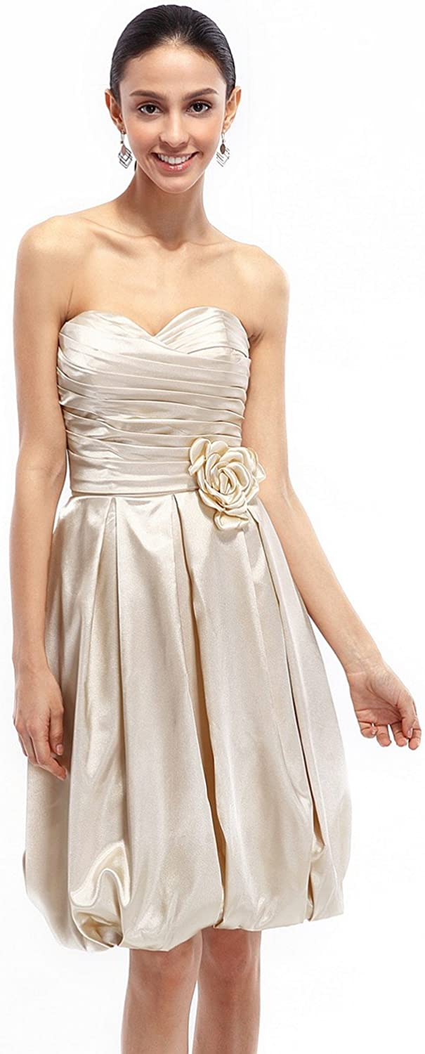 Vampal Champagne Strapless Taffeta Ruched Bridesmaid Dress With Bubble Skirt