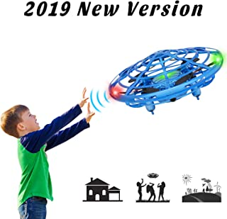 Flying Ball Toys for Kids, 360° Rotating Quadcopter with LED Lights, Hand Operated Mini Drone Helicopter for Boys and Girls (Blue)