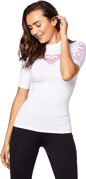D/ébardeur /à Manches Courtes Rash Pink Flambe Protection Solaire UV Facile /à /étirer et Properties SPF Roxy Girls Whole Hearted UV50