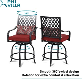 PHI VILLA Patio Bar Stools Set of 2 Outdoor High Patio Dining Swivel Chairs for Bistro Lawn All Weather Metal Frame with Cushion