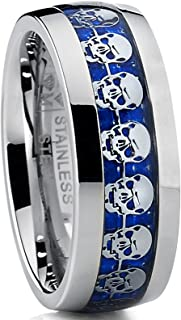Metal Masters Co. Men's Dome Stainless Steel Ring Band with Blue Carbon Fiber and Skull Design