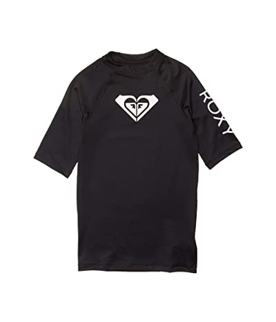 Roxy Kids Whole Hearted Short Sleeve Rashguard (Big Kids) (Anthracite) Girl