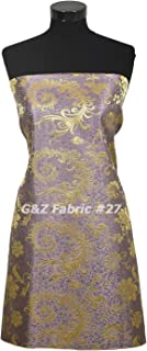 10 Yards Oriental Brocade Fabric - Lavender w/Gold Phoenix Tail Feather Pattern For Do-It-Yourself Project