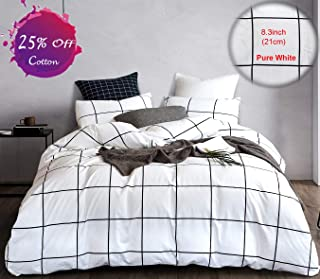 karever White Duvet Cover Queen Cotton Bedding Full Big Black Plaid Grid Geomtric Pattern Printed Duvet Cover Sets for Kids Teens Adult