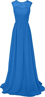 TalinaDress Womens Long Lace Chiffon Sheer Neck Bridesmaid Dress Prom Gown E289LF