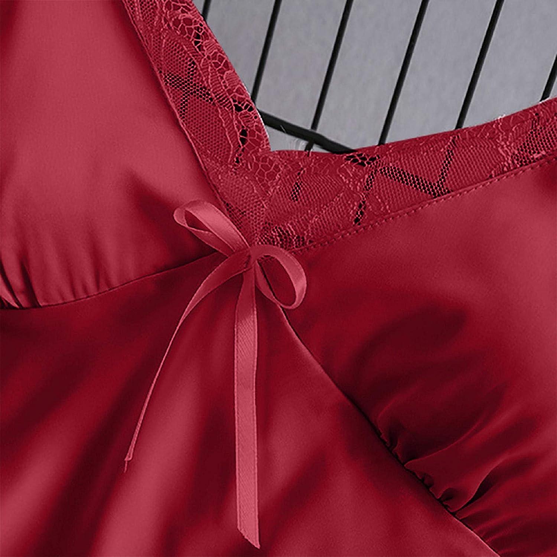 Women Satin Pajamas Set Silk Lace Sleepwear Cami Nightwear Shorts Lingerie 2 Pcs Pajamas (S, Solid - Red)