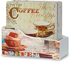 BANBERRY DESIGNS Coffee Coasters - Set of 6 Drink Coasters with Holder - Coffee Decorations - Coffee Inspired Art on Each Coaster - Vintage Coffee - Decorative Coasters