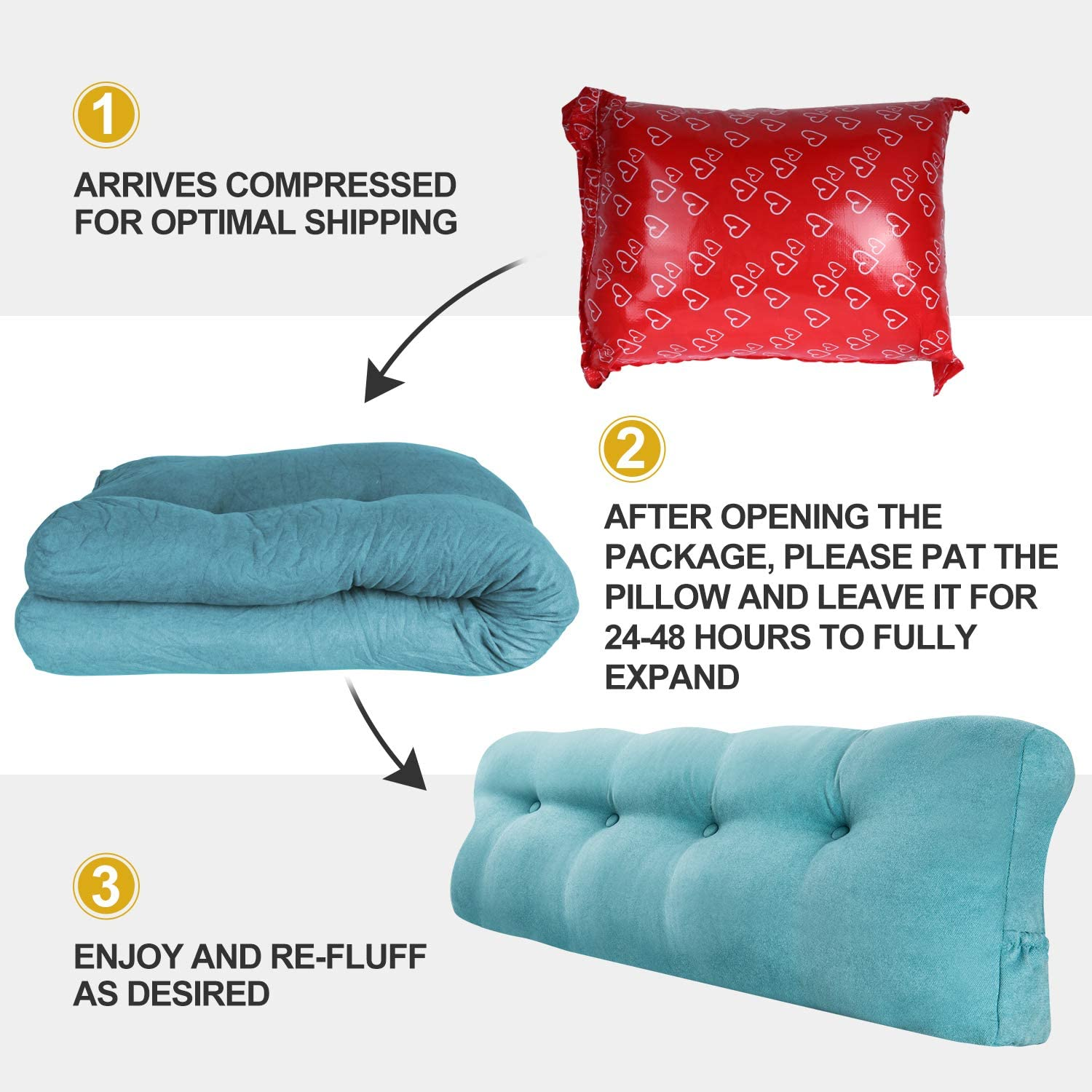 Perfect Bolster Lumbar Cushion for Day Bed /& Bunk Bed Vekkia Large Triangular Bed Rest Positioning Support Pillow for Reading in Bed Wedge Headboard Pillow with Removable Cover Blue (Full)