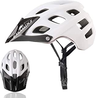 Exclusky Mountain Bike Helmet with Detachable Visor for Adult Women and Men - Adjustable M L Size (22.05-24.01 Inches)