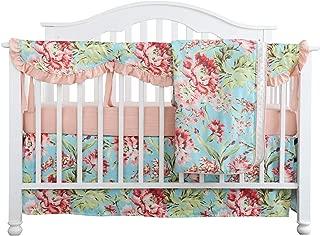 Crib Rail Guard Set Boho Floral Nursery Baby Bedding Ruffled Crib Skirt Crib Rail Cover Set (Ruffle Teal Floral)