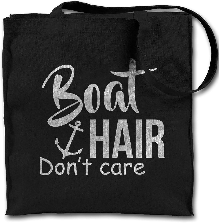 Boat Hair Don't Care Sailor Black Canvas Tote Bag, Cloth Shopping Shoulder Bag