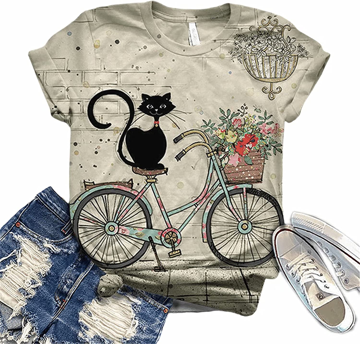 Hami House T Shirts for Women Graphic 3D Animal Printed Graphic Tees Shirts Short Sleeve O-Neck Casual Tops Blouse