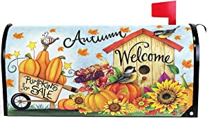 Pfrewn Autumn Pumpkin Sunflower Mailbox Cover Magnetic Standard Size Fall Leaf Birds Harvest Letter Post Box Cover Wrap Decoration Welcome Home Garden Outdoor 21