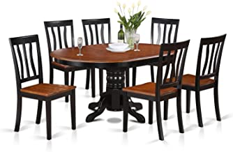 AVAT7-BLK-W 7 Pc Dining room set-Oval Table with Leaf and 6 Dining Chairs