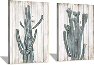 Succulent Canvas Wall Art Painting: Desert Plant Cactus Blooms Graphic Artwork Picture for Bathroom Kitchen Office Wall (18'' x 24'' x 2pcs)