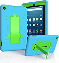 EpicGadget Case for 2019 Amazon Fire 7 Tablet (9th Generation, 2019 Released) – Heavy Duty Hybrid Case Cover with Kickstand + 1 Screen Protector and 1 Stylus (Blue/Green)