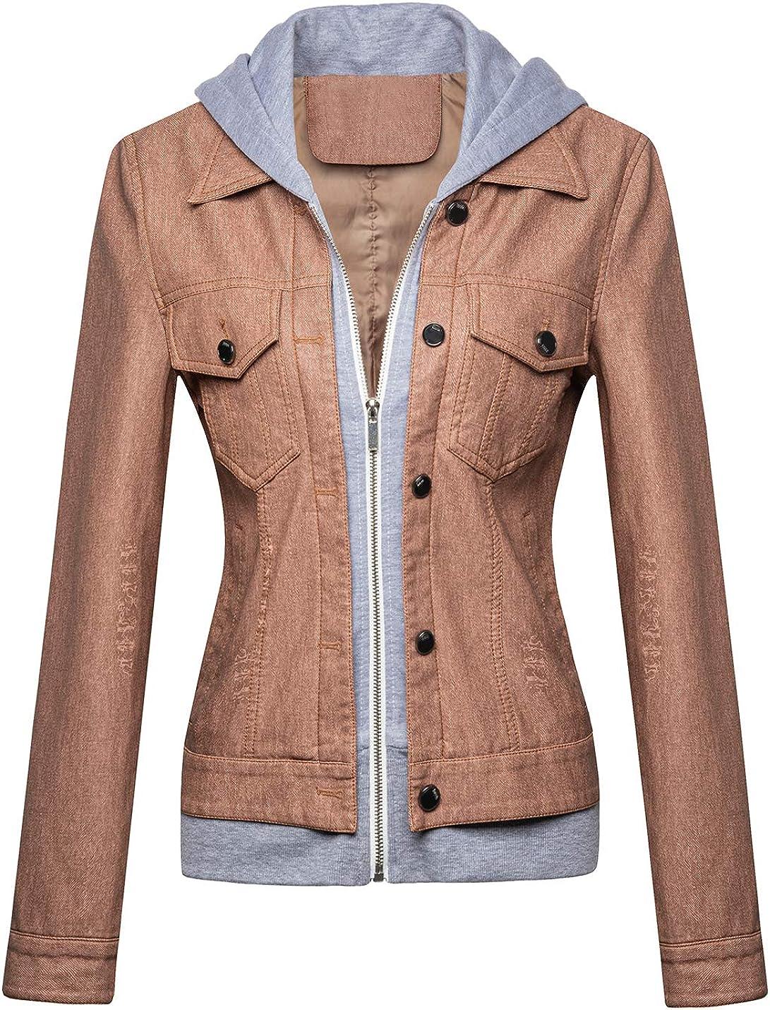 Tanming Women's Slim Denim Look Faux PU Leather Hooded Short Trucker Jacket Coats