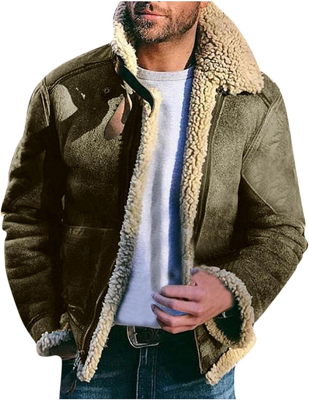 Mens Casual Sherpa Fleece Lined Jackets Winter Warm Heavyweight Fur Collar Zipper Bomber Coats Outwears
